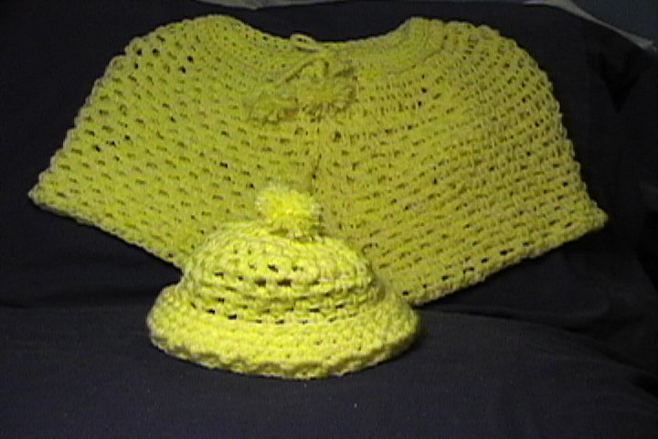 Baby Shawl & Hat in Yellow