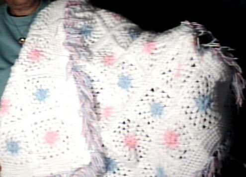 Crochet Blanket Double Granny Squares White, Pink and Blue