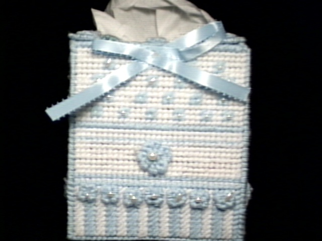 Blue Bow & Pearls Tissue Box Cover