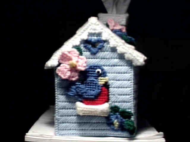 Bluebird Birdhouse Tissue Box Cover