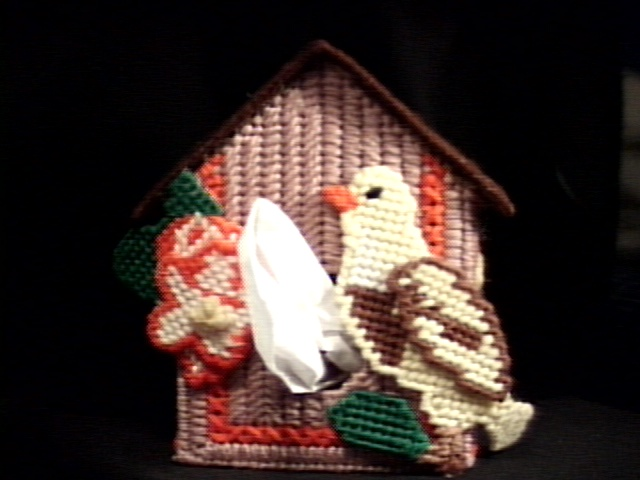 Canary Birdhouse Tissue Box Cover in Brown