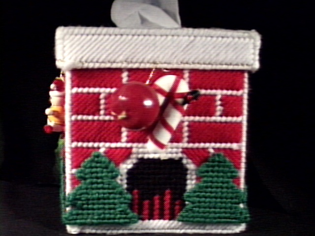 Christmas Fireplace Tissue Box Cover