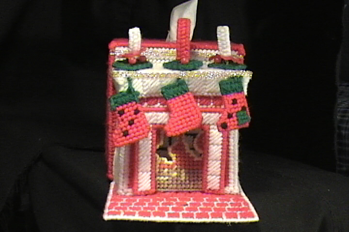 Christmas Stocking Fireplace Tissue Box Cover