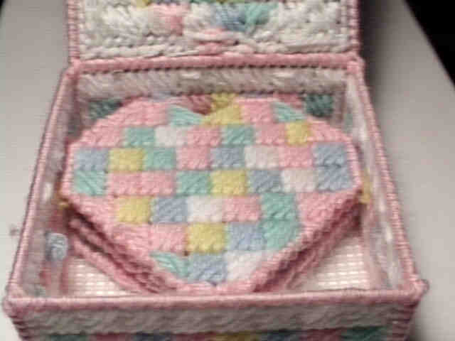 Patchwork hearts in holder