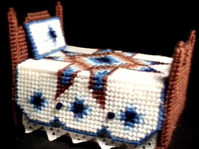 Doll Bed Coasters Set in Blue, Brown and White