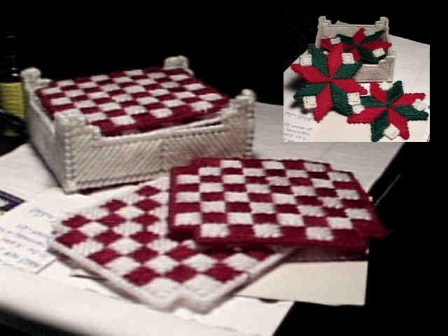 Checkerboard Squares/ Holiday Stars Coaster Sets