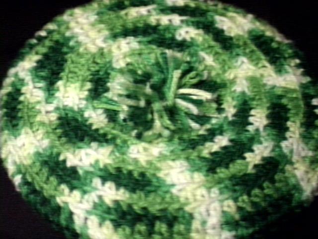 Crochet Beret & Scarf Green