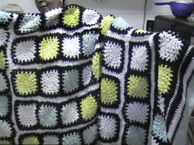 Crochet Blanket Granny Squares in Green, Yellow and White