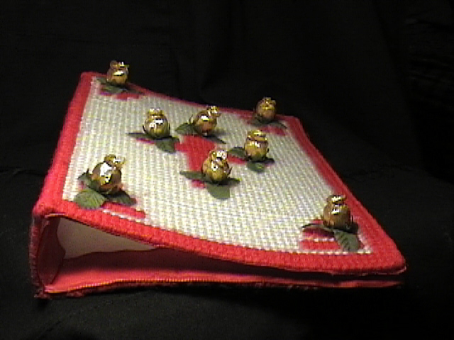 Gold Roses on Red & White Bible Cover