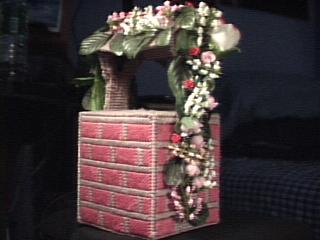 Pink Floral Wishing Well front view