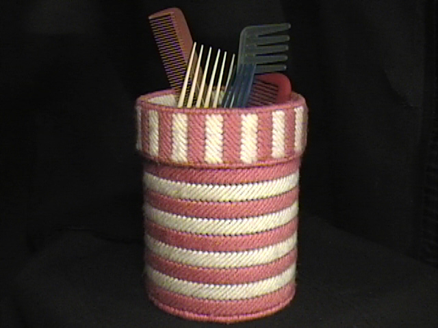 Pink Striped Brush & Comb Holder