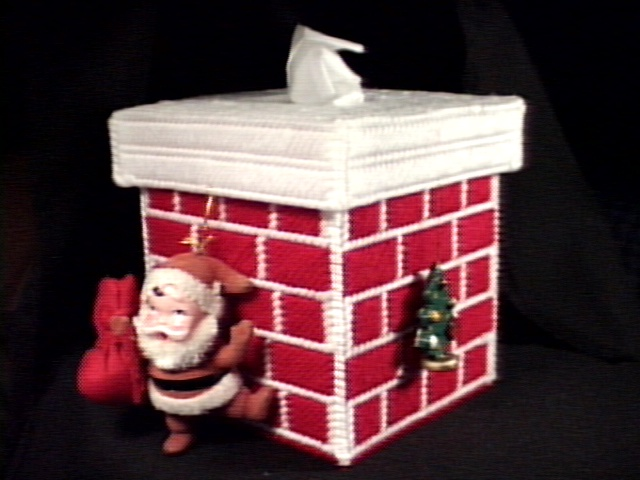 Santa's Christmas Chimney Tissue Box Cover