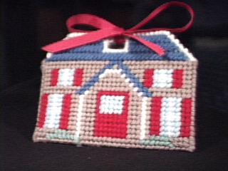 Tissue Holder House In Blue & Red